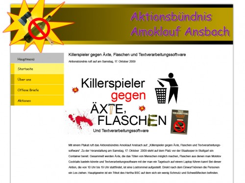 Aktionsbndnis Amoklauf Ansbach - Killerspieler gegen xte, Flaschen und Textverarbeitungssoftware